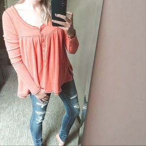 Free People We The Free Kai Henley Top Red Small